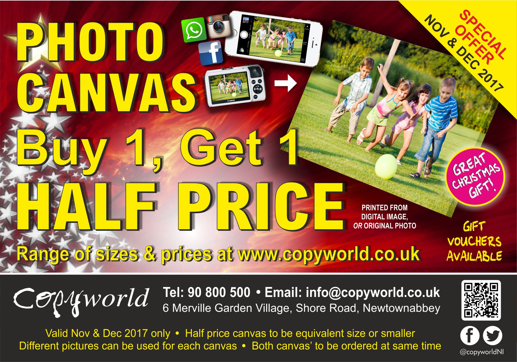 Canvas Buy one get one half price